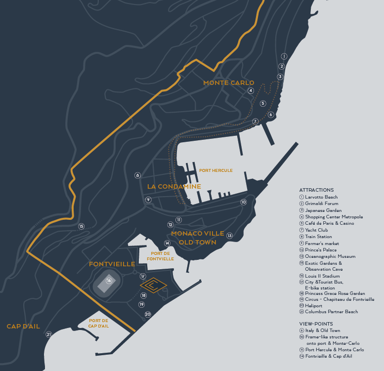 City map - Columbus Monte-Carlo and its neighbourhood at a glance